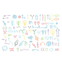 Arrows drawing set painted by hand lines vector
