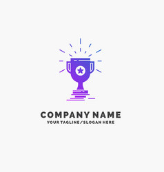 Award trophy prize win cup purple business logo vector
