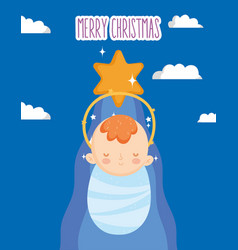 Bajesus gold star manger nativity merry vector