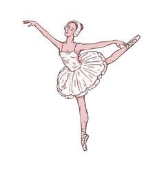 Ballerina in tutu dress standing on one leg vector