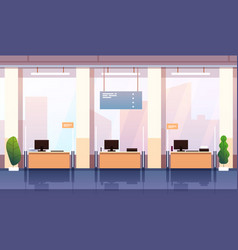 bank interior empty bank office consulting center vector image