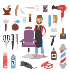 barbershop hairdresser beard hipster man vector image