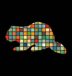 beaver wildlife color silhouette animal vector image