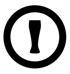 beer glass icon black color in circle vector image