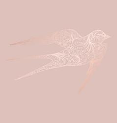 Bird rose gold hand drawing vector