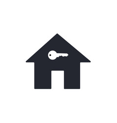 black house icon with white key in flat design vector image