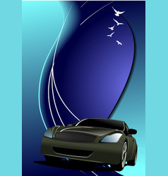Blue abstract background with car image vector