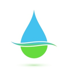Blue and green drop symbol vector image
