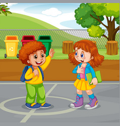 Boy and girl meeting in park vector
