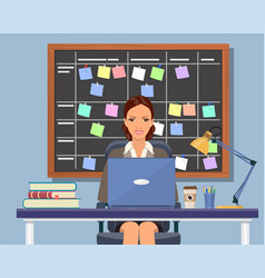 business woman working at desk vector image