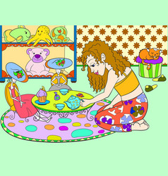 children color girl in childrens room playing with vector image