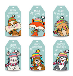 christmas labels collection with animals vector image