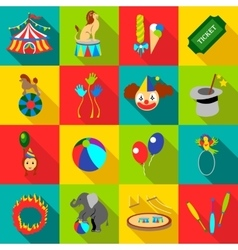 Circus icons set flat style vector