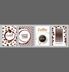 coffee posters time for drinking cup dark stains vector image