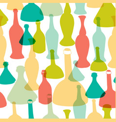 colorful stylish glass bottles seamless pattern vector image