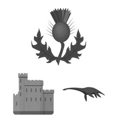 Country scotland monochrome icons in set vector