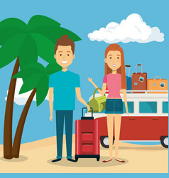 couple in the beach characters vector image