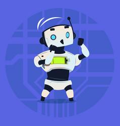 Cute robot fighting modern artificial intelligence vector