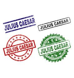 Damaged textured julius caesar stamp seals vector