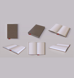 diary mockup realistic blank open and closed vector image