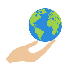 earth in hand vector image