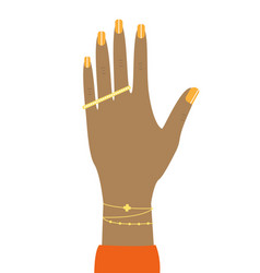 female mulatto hand with a ring and bracelet vector image