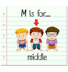Flashcard letter m is for middle vector