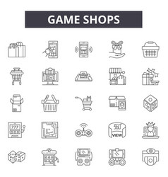game shops line icons signs set outline vector image