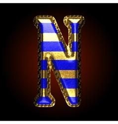 golden and blue letter n vector image