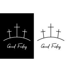 good friday three crosses on the mountain vector image