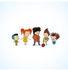 Group children in line vector