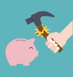Hammer broken before break the piggy bank vector
