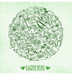 hand drawn garden background vector image