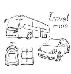 Hand drawn transport set Backpack for travel vector image
