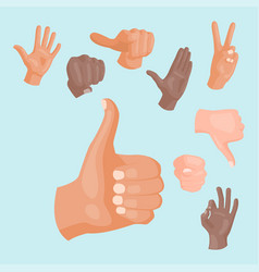 Hands deaf-mute different gestures human arm vector