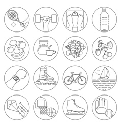 Healthy lifestyle outline icons vector image