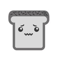 kawaii bread slice vector image