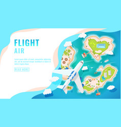 Landing page design banner with airplane flying vector