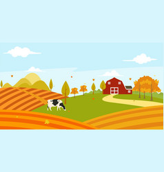 Landscape view of farmer garden in the morning vector