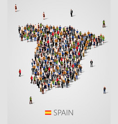 Large group of people in form of spain map vector