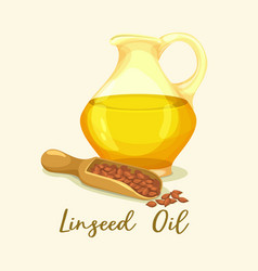 Linseed or flaxseedflax oil in bottle near grains vector