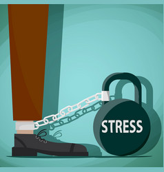 Man chained to kettlebell with word stress vector
