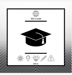 Master cap for graduates square academic cap vector