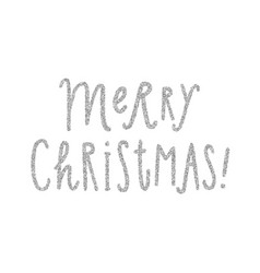 merry christmas silver glitter lettering vector image
