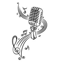 Microphone with music notes and clef vector