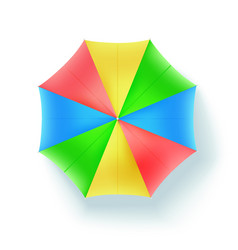 Multicolor beach umbrella top view icon of open vector