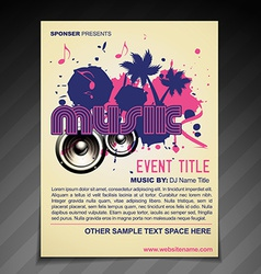 music brochure flyer poster template design vector image