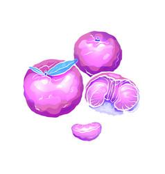 neon cartoon of exotic mandarin and vector image