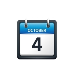October 4 Calendar icon flat vector