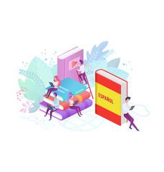 Online spanish language courses flat vector